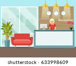 reception in modern office with ... | Shutterstock .eps vector #633998609