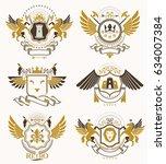 heraldic coat of arms created... | Shutterstock .eps vector #634007384