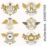 heraldic coat of arms created... | Shutterstock .eps vector #634007435