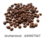 coffee grains and leaves... | Shutterstock . vector #634007567