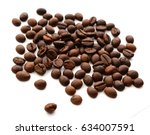 coffee grains and leaves... | Shutterstock . vector #634007591