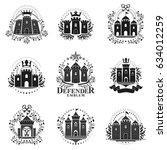 ancient castles emblems set.... | Shutterstock .eps vector #634012259