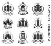 ancient castles emblems set.... | Shutterstock .eps vector #634012421