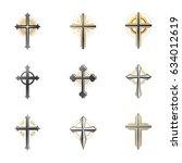 crosses of christianity emblems ... | Shutterstock .eps vector #634012619