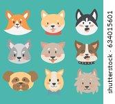 funny cartoon dog character... | Shutterstock .eps vector #634015601