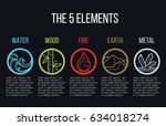 5 elements of nature circle... | Shutterstock .eps vector #634018274