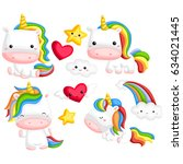 rainbow unicorn vector set | Shutterstock .eps vector #634021445