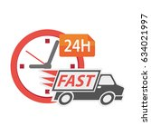 delivery truck 24h  conceptual... | Shutterstock .eps vector #634021997