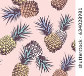 pineapple pop art seamless... | Shutterstock .eps vector #634028981
