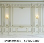 white wall panels in classical... | Shutterstock . vector #634029389