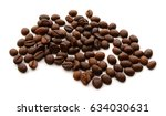 roasted coffee beans isolated... | Shutterstock . vector #634030631