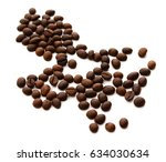 roasted coffee beans isolated... | Shutterstock . vector #634030634