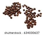 three coffee beans isolated on... | Shutterstock . vector #634030637