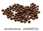roasted coffee beans isolated... | Shutterstock . vector #634030721