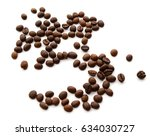 roasted coffee beans isolated... | Shutterstock . vector #634030727