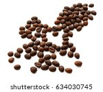 roasted coffee beans isolated... | Shutterstock . vector #634030745