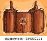 brewery factory background. art ... | Shutterstock .eps vector #634032221