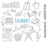 laundry service hand drawn... | Shutterstock .eps vector #634037135