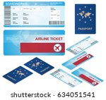 airline ticket and passport... | Shutterstock .eps vector #634051541