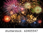 colorful fireworks of various...