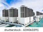 a row of air conditioning units ... | Shutterstock . vector #634063391