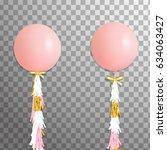 shine festive big pink helium... | Shutterstock .eps vector #634063427
