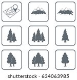 set of forest and mountains... | Shutterstock .eps vector #634063985