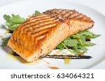 baked salmon fillet dinner   Shutterstock . vector #634064321