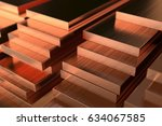 warehouse of copper sheets.... | Shutterstock . vector #634067585
