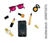 women's accessories   phone ... | Shutterstock . vector #634071071