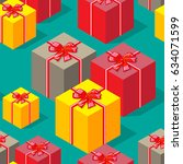 seamless pattern colorful gift... | Shutterstock . vector #634071599