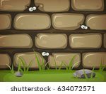eyes inside rural stone wall ... | Shutterstock .eps vector #634072571