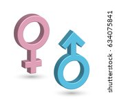 3d male and female symbols in... | Shutterstock .eps vector #634075841