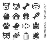 pets icons set | Shutterstock .eps vector #634081097