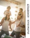 family spending free time at... | Shutterstock . vector #634089029