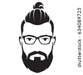 bearded men face  hipster... | Shutterstock .eps vector #634089725