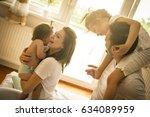 family spending free time at... | Shutterstock . vector #634089959