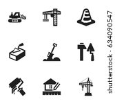 set of 9 editable construction... | Shutterstock .eps vector #634090547