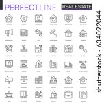 real estate thin line web icons ... | Shutterstock .eps vector #634092044
