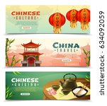 three cartoon china travel... | Shutterstock .eps vector #634092059