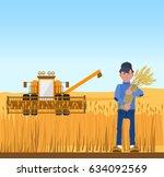 farmer harvesting wheat and...   Shutterstock .eps vector #634092569