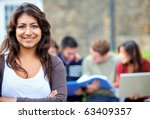female student outdoors with a... | Shutterstock . vector #63409357