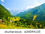 mountain green valley landscape | Shutterstock . vector #634094135