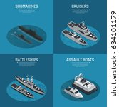 four square military boats... | Shutterstock .eps vector #634101179