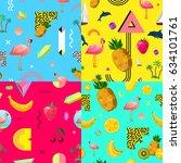 decorative seamless polygonal... | Shutterstock .eps vector #634101761