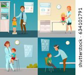 kids visit doctors cartoon... | Shutterstock .eps vector #634101791