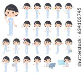 set of various poses of... | Shutterstock .eps vector #634102745