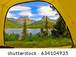 mountain lake landscape view... | Shutterstock . vector #634104935