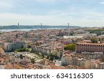panorama on lisbon city with... | Shutterstock . vector #634116305