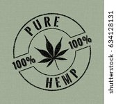pure hemp stamp style logo with ... | Shutterstock .eps vector #634128131